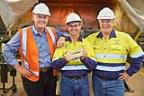 From left: Independence Group CEO Peter Bradford, Tropicana General Manager Duncan Gibbs and AngloGold Ashanti SVP Australia Mike Erickson with the milestone bar. Photo taken by Aaron Bunch.